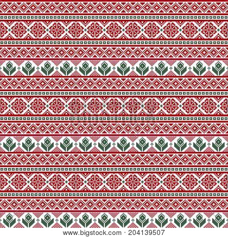 Seamless fabric.Merry Christmas and happy New year. The occasion. Pixels. White green and red. Ornament. Background gift wrapping design pattern website background Stock vector