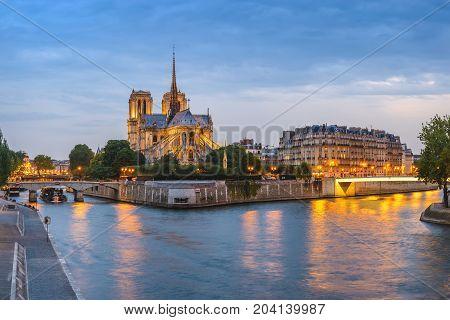 Paris Sunset City Skyline Panorama At Notre Dame De Paris Cathedral And Seine River, Paris, France