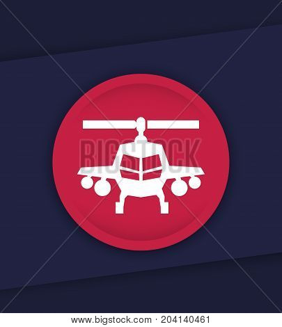combat helicopter vector icon, eps 10 file, easy to edit