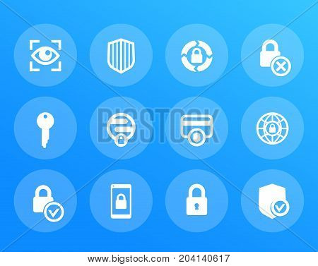 Security icons set, secure transaction, online safety, protection, firewall, key, lock, shield