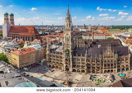 Munich City Skyline At Marienplatz New Town Hall, Munich, Germany