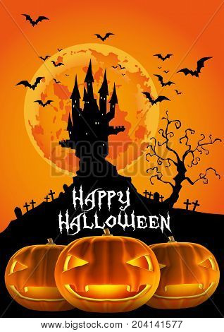 Happy Halloween, Haunted Castle and Jack O Lantern of 3D illustration