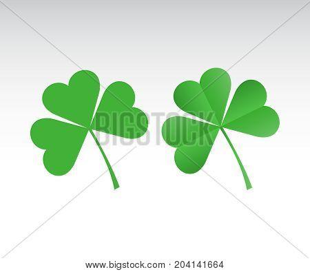 Green Shamrock leave icon set. Paper green shamrock on white background