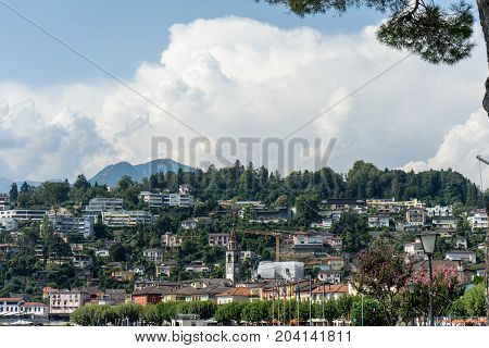 Ascona historic mediterranean city view at the Lake Maggiore near Locarno in the canton of Ticino in Switzerland wit tree in front
