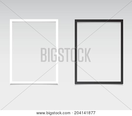 Set of blank photo frames with shadow effects isolated on transparent background. Vintage photos (frame) for your picture. Black and white photo frames set
