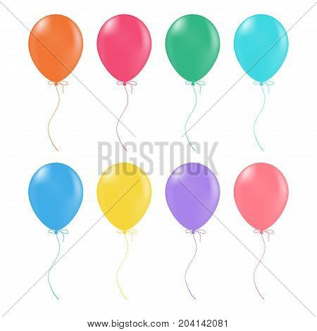 Multicolored Helium Balloons. Glossy And Shiny Air Baloons Isolated On A White Background. Vector Illustration. Realistic Decorations