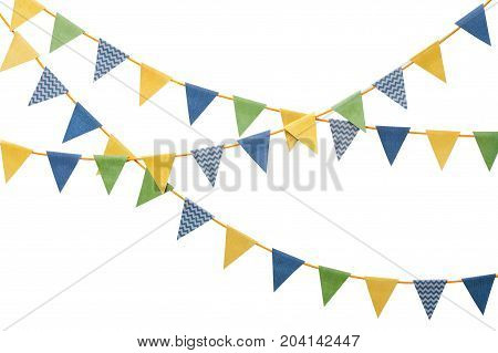 Bunting party flags made from scrapbook paper isolated on white background