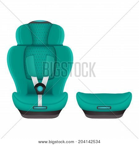 Booster Child Car Seat 3 Isolated On A White Background. Vector Illustration. Products For Children