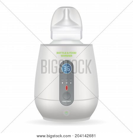 Baby Bottle Warmer With Feeding Bottle Isolated On A White Background. Vector Illustration. Products For Children