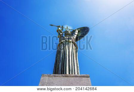 Bottom View Of The Minerva Statue Of Sapienza University, Rome