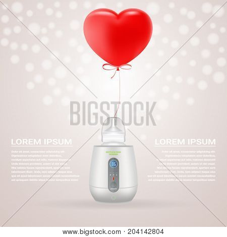 Baby Bottle Warmer And Feeding Bottle With Red Baloon In Shape Of Heart Isolated On A Background. Vector Illustration. Products For Children