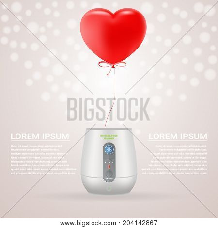 Baby Bottle Warmer With Red Baloon In Shape Of Heart Isolated On A Background. Vector Illustration. Products For Children