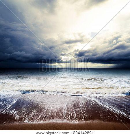 Sea waves. Tropical hurricane cyclone summer background