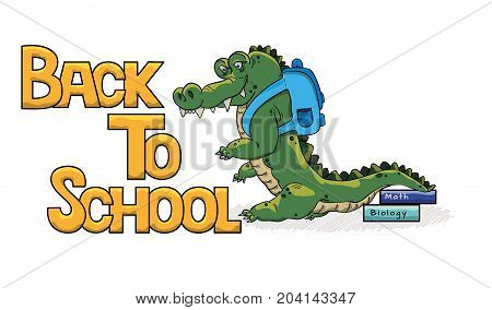 Cute cartoon crocodile with briefcase and books. Back to school illustration.
