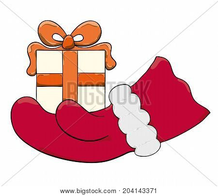 Santa Claus hand and packaged present isolated on white background.