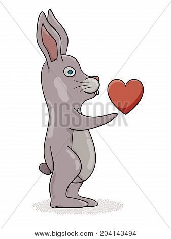 Rabbit With Hand Stretched Out With Red Heart.