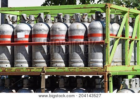 Gas containers on a truck on the street