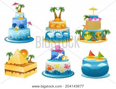 Set of six funny exotic  birthday cakes - vector illustration