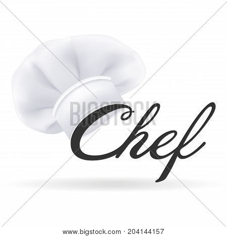 Photorealistic Modern White Chef Hat. Cooks Hat Isolated On A White Background. Vector Illustration. Cooking Symbol