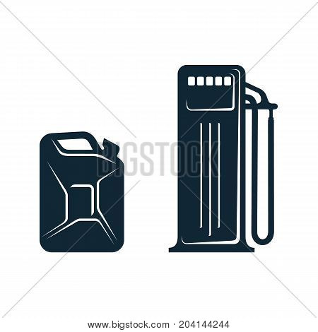 vector oil fueling station , canister set simple flat icon pictogram isolated on a white background. Gas oil fuel, energy power industry symbol, sign