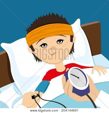 Doctor measures the pressure of the patient in bed.