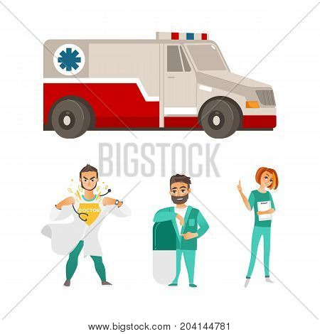 vector flat cartoon ambulance car. Paramedic emergency auto. Medical evacuation service vehicle, super doctor, surgeon with big pill and female nurse set. Isolated illustration on a white background