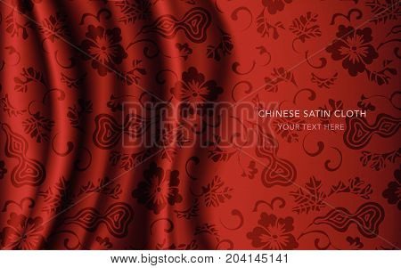 Traditional Red Chinese Silk Satin Fabric Cloth Background Gourd Spiral Vine Flower
