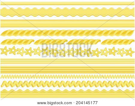 Set of useful pasta pattern brushes- vector illustration