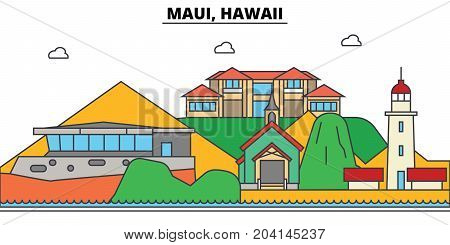 Maui, Hawaii. City skyline, architecture, buildings, streets, silhouette, landscape, panorama, landmarks. Editable strokes. Flat design line vector illustration concept. Isolated icons