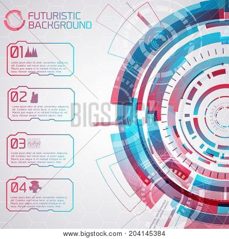 Modern virtual technology background with detailed futuristic semicircle composition and four numbered buttons with pictograms vector illustration