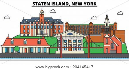 Staten Island, New York. City skyline, architecture, buildings, streets, silhouette, landscape, panorama, landmarks. Editable strokes. Flat design line vector illustration concept. Isolated icons