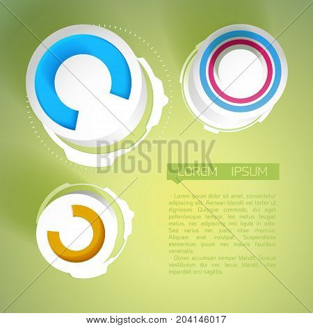 Abstract composition with colorful geometric objects of with dial and engineering elements on green background vector illustration