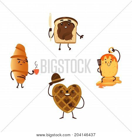 Funny breakfast characters - waffle, toast, croissant and pancake, cartoon vector illustration isolated on white background. Funny smiling waffle, wafer, toast with character, croissant, pancake