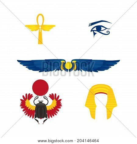 Set of Egypt symbols - winged sun, ankh, pharaoh headdress, eye and scarab beetle, flat cartoon vector illustration isolated on white background. Set of flat style Egyptian symbols