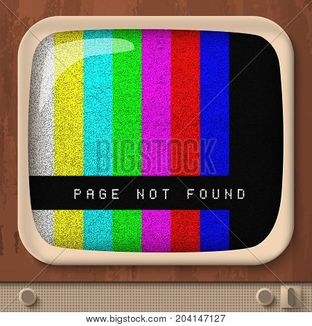 Page not found retro concept with colorful straight lines on tv screen in vintage style vector illustration