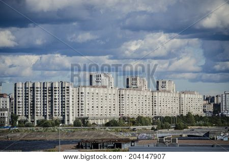 9TH SEPTEMBER 2012, SAINT PETERSBURG, RUSSIA - Apartment blocks along the coastline of Saint Petersburg Russia