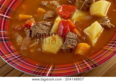 Traditional Bulgarian soup chorba. hurpa soup  , close up traditional meal