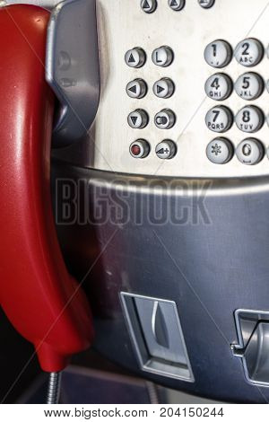 public phone phone close up picture dial metal communication