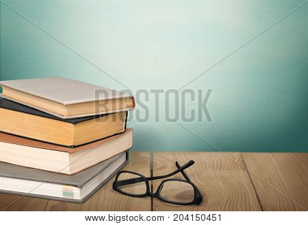 Heap glasses books background wooden style symbol