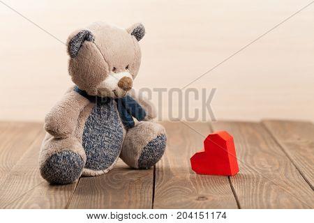 Cute bear teddy teddy bear plush toy red heart color
