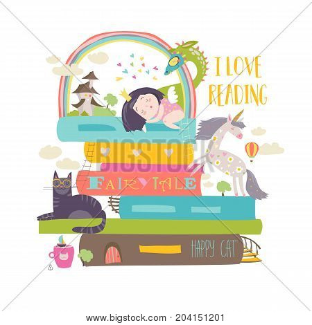 Fairytale concept with book, unicorn, dragon, princess and medieval castle. Vector illustration