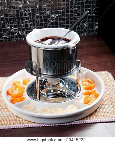 fondue with fruit  , сlose up meal