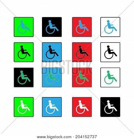 Disabled icon in square set. Mark disability. Sign a place open passage. Symbol paralyzed and human on wheelchair. Safety person warning handicapped illustration. Design element. Vector illustration