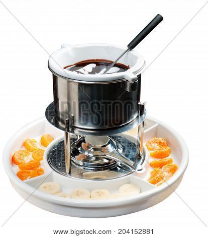 fondue with fruit , close up meal