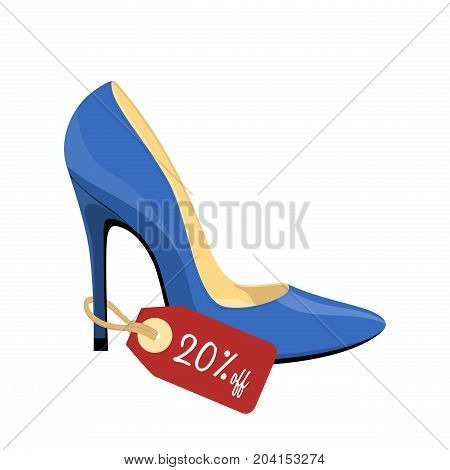 Blue stiletto shoe with price tag isolated on white background