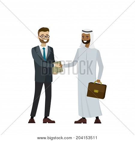 Multicultural business people shaking hands isolated on white backgroundcartoon vector illustration