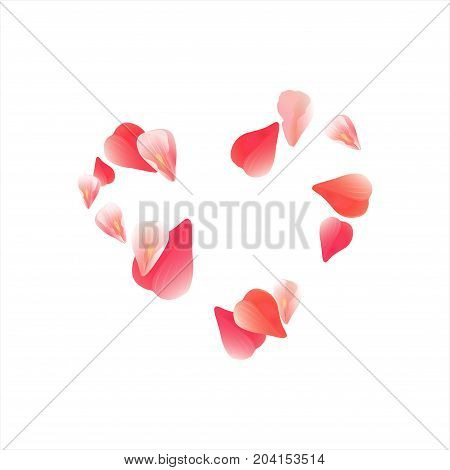 Pink Red flying petals isolated on white background. Sakura petals. Heart of petals. Vector EPS 10, cmyk