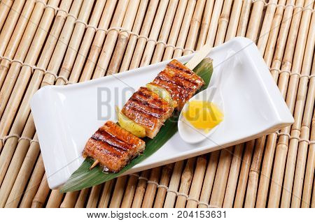 Japanese skewered seafoods .eel   close up traditional meal