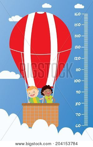 Kids Height Chart,smiling Children Fly In A Hot Air Balloon