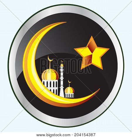 Symbol of the islam on button.Vector illustration